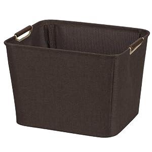 Household Essentials Medium Tapered Bin with Wood Handles, Coffee Linen