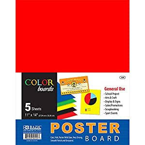 Bazic Poster Board, 11 x 14 Inches, White, 5 sheets/Pack (Case of 48 packs)