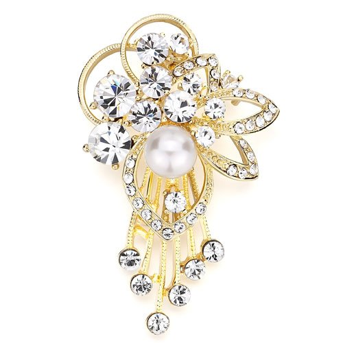 Christmas Gifts Pugster Elegant Clear Crystal Pearl Flower Dangle Tassels Brooches And Pins