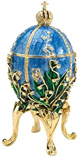 Museum Replica Russian Jeweler Valentina Faberge-Style Collectible Enameled Egg