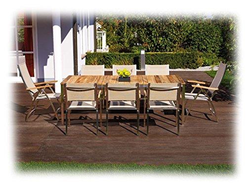 NAXOS & PONTIAC Gartenmöbel Sitzgruppe B 9-teilig Gartenset Zebra Keramik & Batyline Espresso