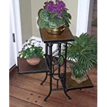 3-Tier 4D Concepts Metal Plant Stand with Slate Top