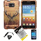 4 items Combo: Stylus Pen + Screen Protector Film + Case Opener + Wildlife Safari Hidden Buck Outdoor Camouflage Design Rubberized Snap on Hard Shell Cover Faceplate Skin Phone Case for Samsung Galaxy S2 / SII / II / 2 / SGH-i777 / i9100 (AT&T Version) / Straight Talk S959G