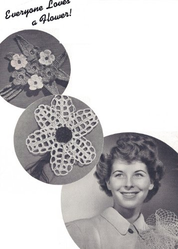 Vintage Crochet PATTERN to make - Flower Lapel Corsage Motif Hair. NOT a finished item. This is a pattern and/or instructions to make the item only.