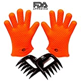 No. 1 Silicone BBQ / Cooking Gloves PLUS No. 1 meat shredder ★ Get these 2 premium products for the price of one ★Heat resistant Cooking Gloves perfect for grilling, baking and handling hot stuff in the kitchen ★Protect yourself with this water proof food grade silicone gloves ★ works far better than oven mitts and One pair gloves gives you a more secure grip with both hands ★ Bear Claw Meat Shredder makes it very easy to shred and securely pick up hot meat★Use for pork, turkey, beef, etc. ★Excellent for pulled pork ★Package includes 1 pair Grace Kitchenware Silicone Gloves and 1 pair Meat Claws★ backed by Amazons A to Z guarantee!