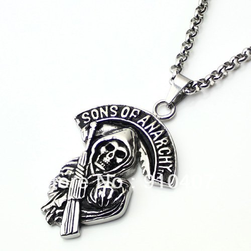 HARLEY Style BIKER High polished PENDANT NECKLACE HOG ROCKER - FREE SHIPPING from USA