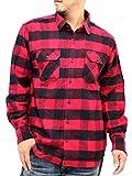 (ルーシャット) Roushatte 大きいサイズ メンズ シャツ ネルシャツ 長袖 チェック 柄 7color LL レッド