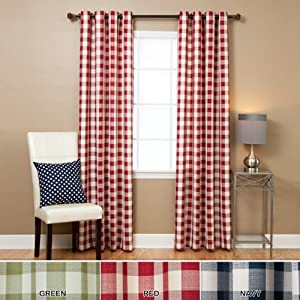 large gingham check grommet curtain 84 l