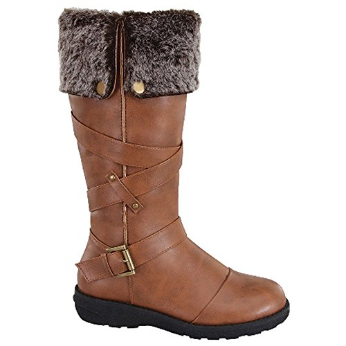 Forever Aura-47 Women'S Criss Cross Strap Knee High Boots Winter Shoes, Color:Tan, Size:8