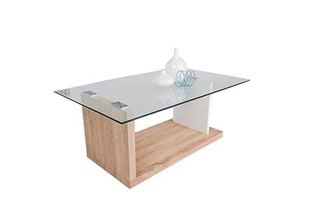 HL Design 01-08-128, 1 Mesa de centro kiwi-2, transparente de suelo 40 mm, lateral en 20 mm grosor, ancho 30 cm, ruedas, 110 x 60 x 40 cm, madera de roble de sonoma de cristal 8 mm, blanco brillante