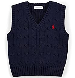 Polo Ralph Lauren Baby Boys Cable-Knit Cotton Sweater Vest Hunter Navy 24 Months