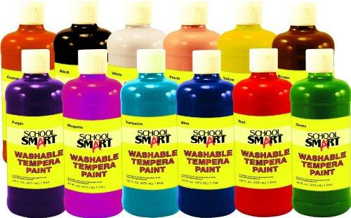 School Smart 1439213 Non-Toxic Washable Tempera Paint Set, 1-Pint Plastic Bottle, Assorted Color (Pack of 12)