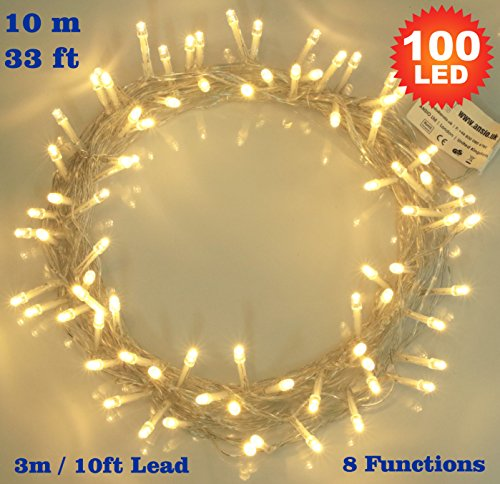 Fairy Lights 100 LED Warm White Indoor Christmas Tree Lights String Lights 8 Functions/ 10 Meters / 33 Ft Clear Cable - Mains/ Power Operated LED Fairy Lights - Ideal for Christmas Tree, Festive, Wedding/Birthday Party Decorations - INDOOR Use Only
