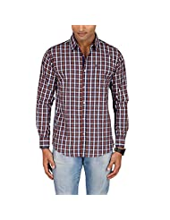 Sleek Line Men's Banded Collar Cotton Shirt - B00TRU62J2