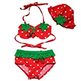 Jastore® Baby Kids Girls 3Pcs Strawberry Bikini Sets Swimsuit Swimwear (4T)