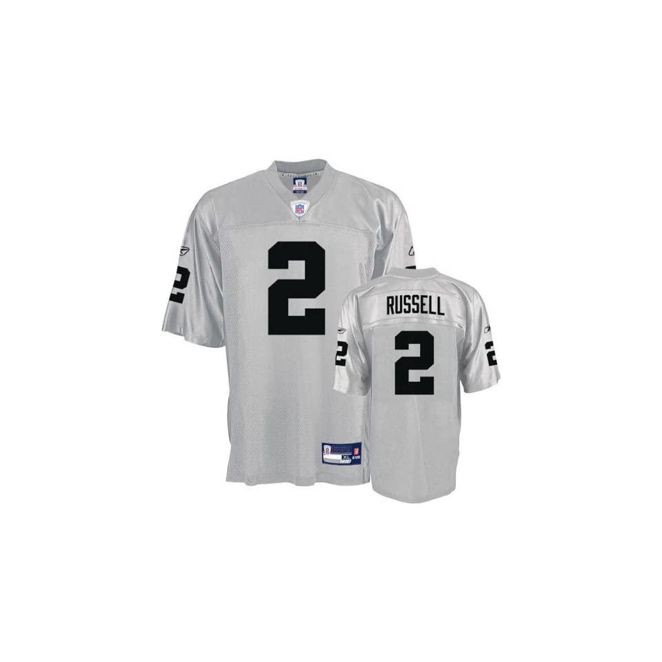 1a838f46 JaMarcus Russell Silver Reebok NFL Replica Oakland Raiders Jersey on ...