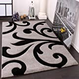 Paco Home Tappeto Di Design Orlo Lavorato Moderno Ondulato Nei Colori Grigio Nero, Dimensione:160x230 cm