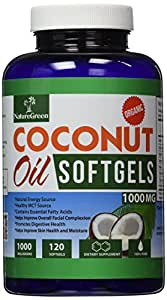 Organic Coconut Oil CAPSULES-PURE EXTRA VIRGIN Softgels-Raw Unrefined Cold Pressed Extract Pills 1000 Mg -Weight Loss Diet Benefits-Best for Healthy Heart,Body,Skin,Hair-Perfectly Natural Uses For Dry Skin Care-Good for Hair Care Beauty-Energy Source-Healthy MCT-100% Money Back GUARANTEED!Made in USA (120 Softgels)
