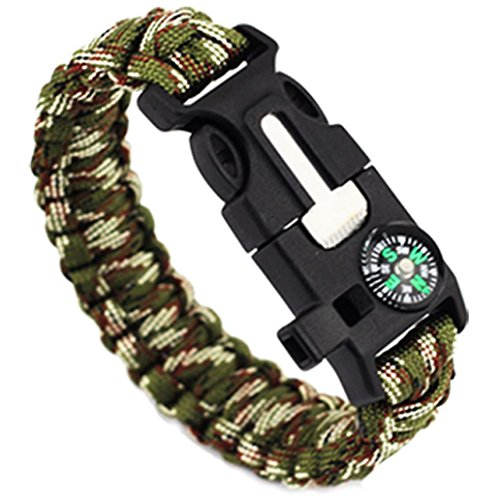 LEERYA 5in1 Outdoor rope Paracord Survival gear escape Bracelet Flint/Whistle/Compass (B)