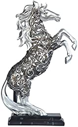12 Inch Silver Engraved Equestrian Mustang Horse Standing Statue Figurine by GSC