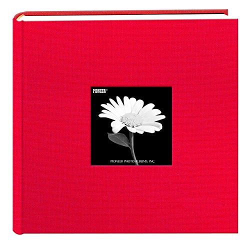 Fabric Frame Cover Photo Album 200 Pockets Hold 4×6 Photos, Apple Red
