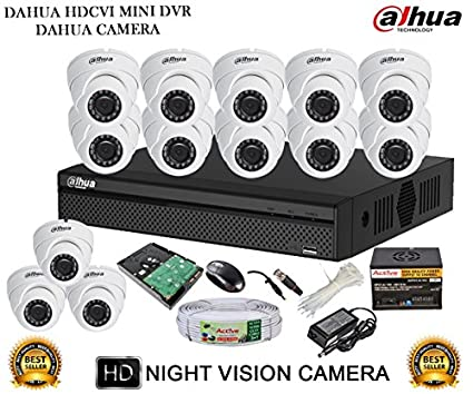 Dahua-DH-HCVR4116HS-S2-16CH-Dvr,-13(DH-HAC-HDW1000RP-360B)-Dome-Camera-(With-Accessories,2TB-HDD)