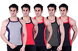 Zimfit Superb Gym Vests - Pack of 5 (GRY_RED_BLK_GRN_BLK_90)