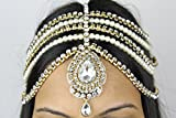 HANDMADE GOLD KUNDAN STONES & PEARL MATHA PATTI INDIAN HEAD CHAIN GRECIAN BOHEMIAN HEAD PIECE HEAD DRESS