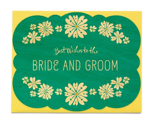 Wedding Flowers Wood Congratulations Card by Night Owl Paper Goods