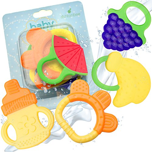 Baby Teething Toys - BPA Free Natural Organic Freezer Safe Teether Set for 3 to 12 Months Babies, Infants, Toddlers by Ashtonbee (5 Pack) - 51yeNNQNLrL - Baby Teething Toys – BPA Free Natural Organic Freezer Safe Teether Set for 3 to 12 Months Babies, Infants, Toddlers by Ashtonbee (5 Pack)
