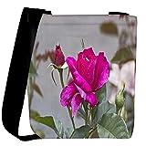 Snoogg dark pink rose flower Womens Carry Around Cross Body Tote Handbag Sling Bags
