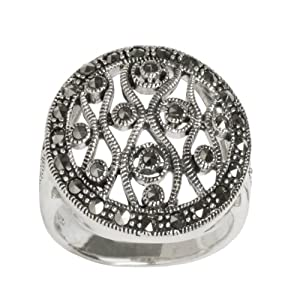 Sterling Silver Oxidized Marcasite Filigree Round Shape Ring, Size 6