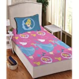 Disney- Athom Trendz- Princess- Cotton Single Bed Sheet Set- Pink