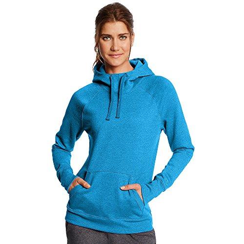 Champion Women's Fleece Pullover Hoodie_Underwater Blue Heather_M