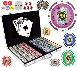 Bluff King Casino Suited Poker Chip Set (1000 Clay Composite 11.5 gram Chips)