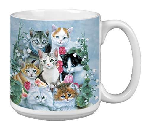 Extra Large 20-Ounce Ceramic Coffee Mug, Cuddly Kittens Themed Cat Lovers Art