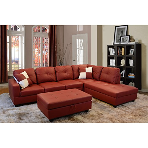 Beverly Furniture Beverly Red 3 PieceFaux Leather Left-facing Sectional Sofa Set with Storage Ottoman, Red
