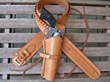 "40"" Natural Leather .22 Caliber Gun Belt and Right Handed Smooth Holster Combination"