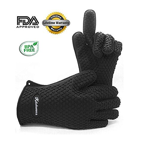 Kitchonics Heat Resistant Silicone BBQ Gloves, Black (Silicone Bbq Gloves Black compare prices)
