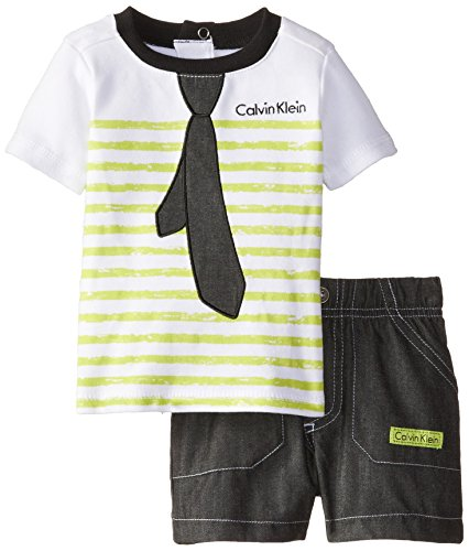 Calvin Klein Baby-Boys Newborn White with Lime Stripes Tee and Shorts -Tie