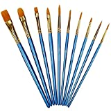 Xubox Pointed-Round Paintbrush Set, 10 Pieces Round Pointed Tip Nylon Hair Artist Detail Paint Brushes Set for Fine Detailing & Art Painting, Acrylic Watercolor Oil, Nail Art, Miniature Painting, Blue (Color: Blue)