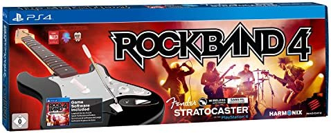 Rock Band 4 + Guitarra Wireless Fender Stratocaster, Color Negro