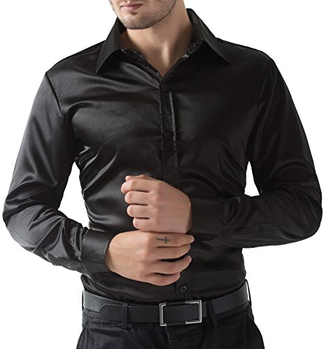 Slim Fit Wrinkle Free Dress Shirt for Men Black Casual Long Sleeve French Cuff Imitated Silk Handsome (L) KL-1