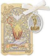 Catholic Gift Prayer Folder with Trinity Holy Spirit Dove Confirmation Tu Silver Tone Charm Medal Pendant