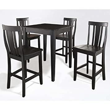 Crosley 5-Piece Pub Dining Set with Tapered Leg and Shield Back Stools, Black Finish