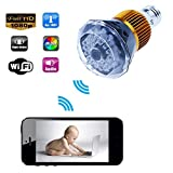 Hidden Camera 1280x720P HD Wifi LED Bulb Motion Activated Video Recorder DV Camcorder IR Night Vision