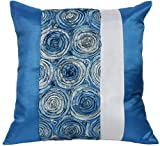 "Artiwa Blue 16""x16"" Square Silk Bed Couch Decorative Accent Pillowcase 3D Rose Floral, Gift Idea"
