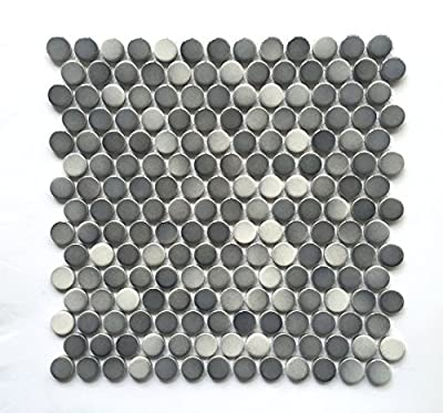 3/4 X 3/4 Penny Round Grey Glossy Finish Porcelain Mosaic (11 Pcs. Per case)