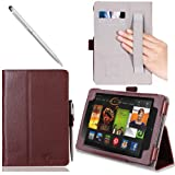 i-BLASON Kindle Fire HDX 7 inch Tablet Leather Case Cover / Stylus (Automatically Wakes and Puts the Kindle Fire HDX to Sleep) (Not Compatible with Kindle Fire HD 7) 3 Year Warranty (Brown)
