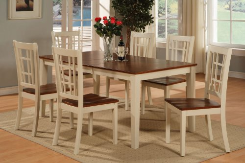 7Pc Nicoli Rectangular Dinette Kitchen Dining Table 6 Chairs In Buttermilk And Cherry front-1059527